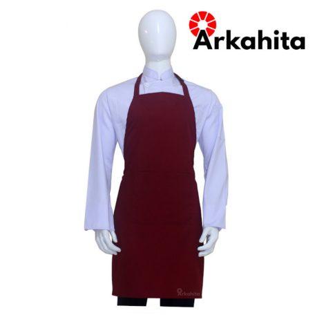 Apron Chef Apron Masak Satu Kantong Merah Marun AL105