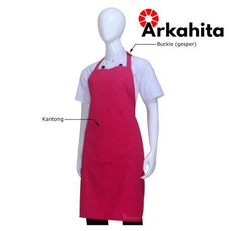 Apron Chef Apron Masak Satu Kantong Merah Muda-2