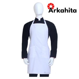 Apron Chef atau Apron Masak 2 Kantong Putih