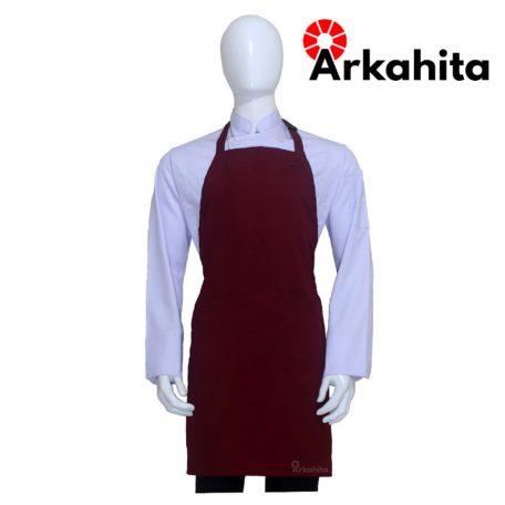 Apron Chef atau Apron Masak Dua Kantong Merah Marun