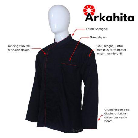 Baju Chef Baju Koki Lengan Panjang Hitam Kombinasi CL201-2