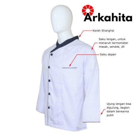 Baju Chef Baju Koki Lengan Panjang Putih Kombinasi 2 CL103-2