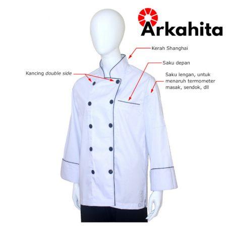 Baju Chef Baju Koki Lengan Panjang Putih Kombinasi 2 CL204-2