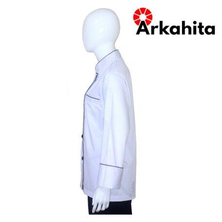 Baju Chef Baju Koki Lengan Panjang Putih Kombinasi 2 CL204-3