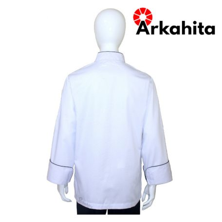 Baju Chef Baju Koki Lengan Panjang Putih Kombinasi 2 CL204-4