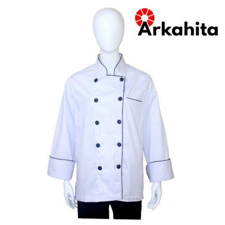 Baju Chef Baju Koki Lengan Panjang Putih Kombinasi 2 CL204