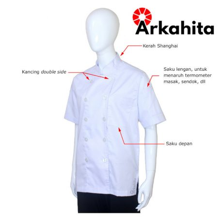 Baju Chef Baju Koki Lengan Pendek Putih Polos CS101-2