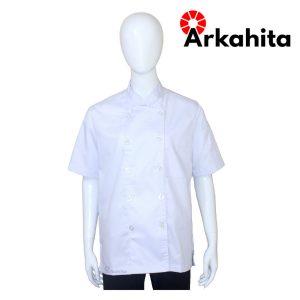 Baju Chef Baju Koki Lengan Pendek Putih Polos CS101