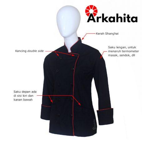 Baju Chef Wanita atau Baju Koki Wanita Lengan Panjang Hitam Kombinasi Lis Merah CW102-2a