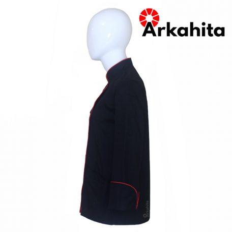 Baju Chef Wanita atau Baju Koki Wanita Lengan Panjang Hitam Kombinasi Lis Merah CW102-3