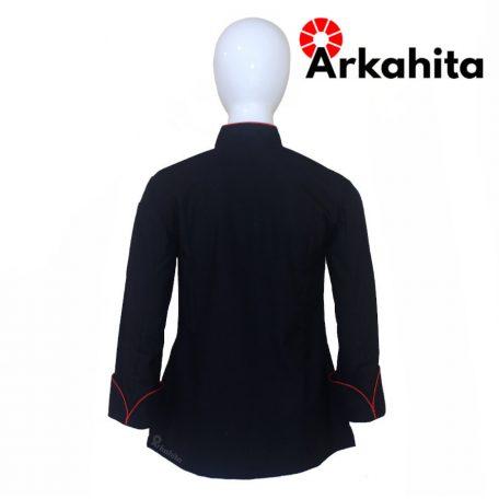 Baju Chef Wanita atau Baju Koki Wanita Lengan Panjang Hitam Kombinasi Lis Merah CW102-4