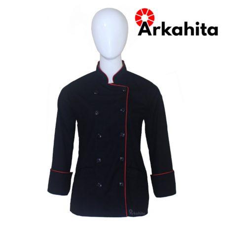 Baju Chef Wanita atau Baju Koki Wanita Lengan Panjang Hitam Kombinasi Lis Merah CW102
