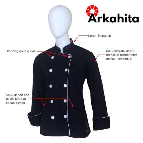 Baju Chef Wanita atau Baju Koki Wanita Lengan Panjang Hitam Kombinasi Lis Silver CW101-2A
