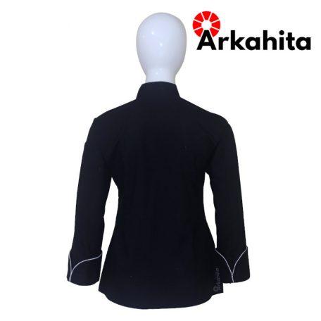 Baju Chef Wanita atau Baju Koki Wanita Lengan Panjang Hitam Kombinasi Lis Silver CW101-4