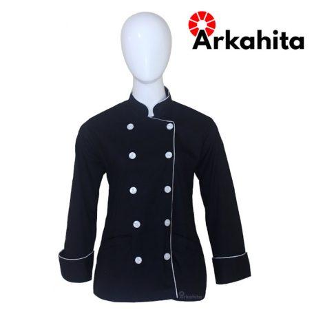 Baju Chef Wanita atau Baju Koki Wanita Lengan Panjang Hitam Kombinasi Lis Silver CW101