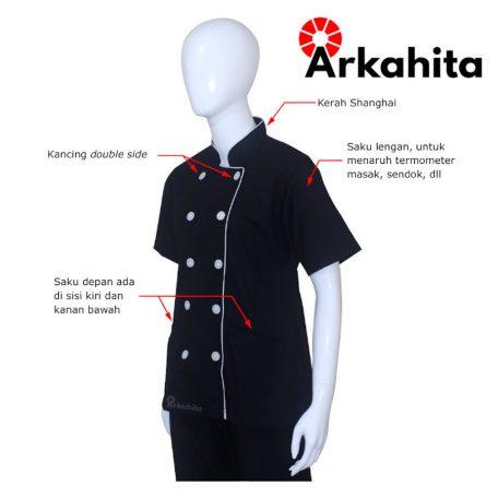 Baju Chef Wanita atau Baju Koki Wanita Lengan Pendek Hitam CW202-2