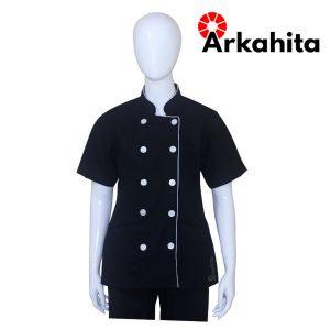 Baju Chef Wanita atau Baju Koki Wanita Lengan Pendek Hitam CW202