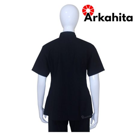 Baju Chef Wanita atau Baju Koki Wanita Lengan Pendek Hitam CW202-4