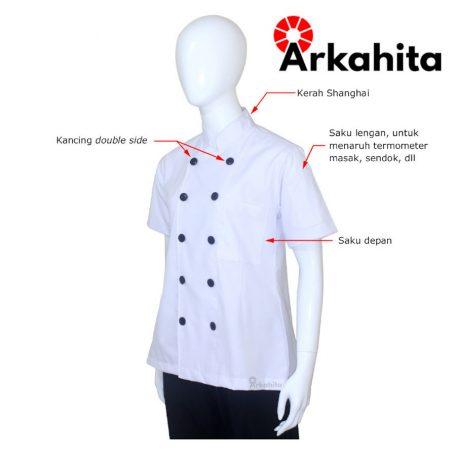 Baju Chef Wanita atau Baju Koki Wanita Lengan Pendek Putih CW201-2