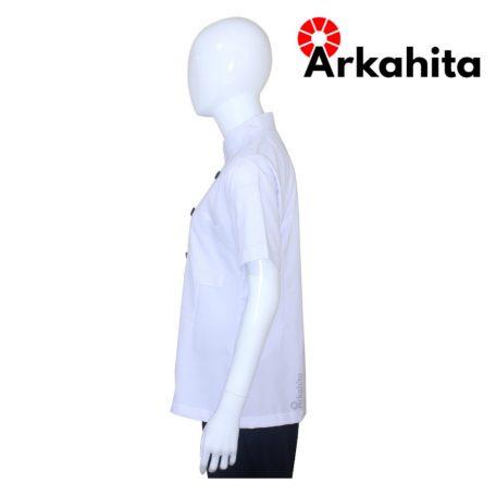 Baju Chef Wanita atau Baju Koki Wanita Lengan Pendek Putih CW201-3