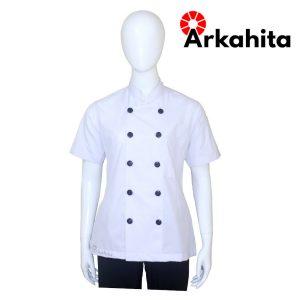 Baju Chef Wanita atau Baju Koki Wanita Lengan Pendek Putih CW201