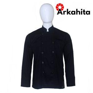 Baju Chef atau Baju Koki Lengan Panjang Hitam CL202