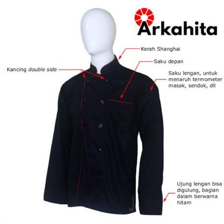 Baju Chef atau Baju Koki Lengan Panjang Hitam CL203-2