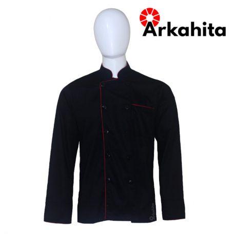 Baju Chef atau Baju Koki Lengan Panjang Hitam CL203
