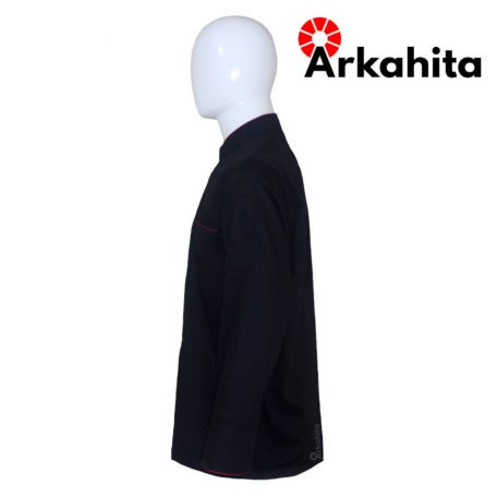 Baju Chef atau Baju Koki Lengan Panjang Hitam Kombinasi CL201-3