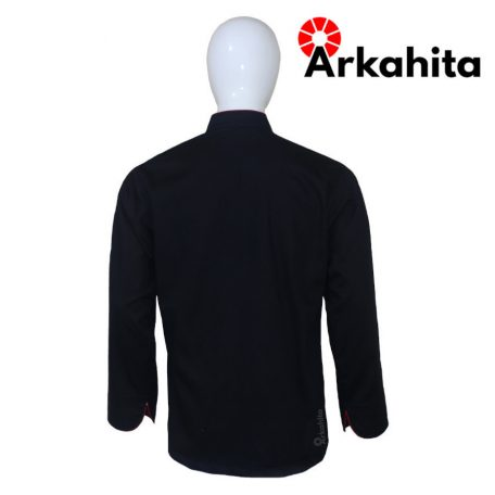 Baju Chef atau Baju Koki Lengan Panjang Hitam Kombinasi CL201-4