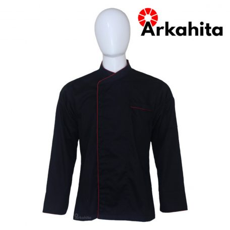 Baju Chef atau Baju Koki Lengan Panjang Hitam Kombinasi CL201