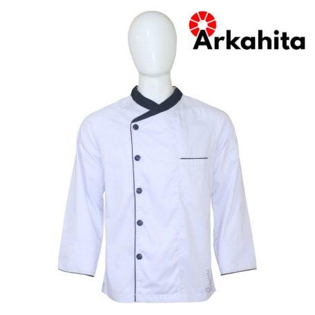 Baju Chef atau Baju Koki Lengan Panjang Putih Kombinasi 2 CL103