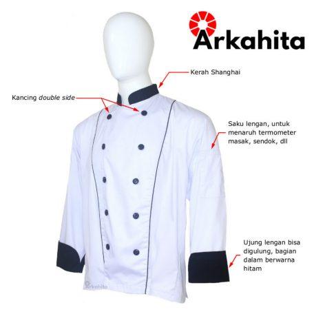 Baju Chef atau Baju Koki Lengan Panjang Putih Kombinasi CL102-2