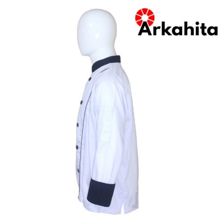 Baju Chef atau Baju Koki Lengan Panjang Putih Kombinasi CL102-3