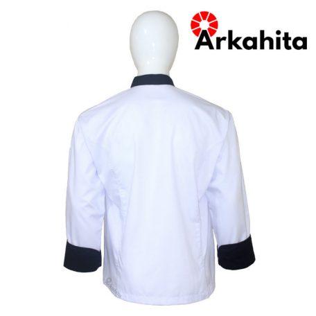 Baju Chef atau Baju Koki Lengan Panjang Putih Kombinasi CL102-4
