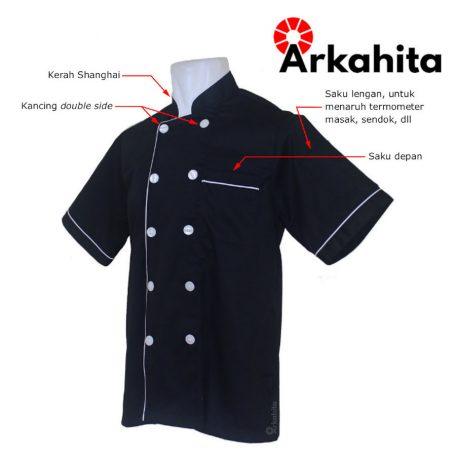 Baju Chef atau Baju Koki Lengan Pendek Hitam CS201-2a