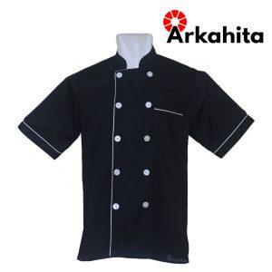 Baju Chef atau Baju Koki Lengan Pendek Hitam CS201