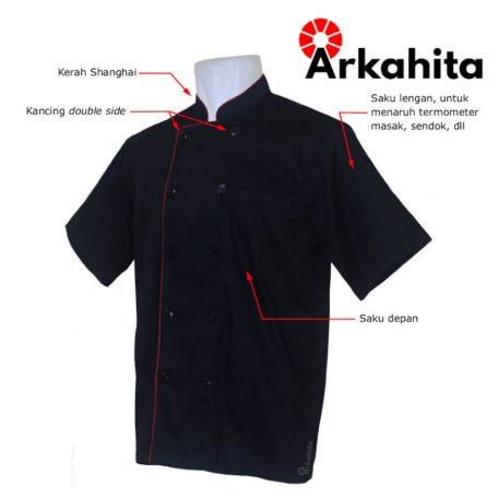 Baju Chef atau Baju Koki Lengan Pendek Hitam CS202-2