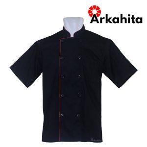 Baju Chef atau Baju Koki Lengan Pendek Hitam CS202