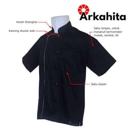 Baju Chef atau Baju Koki Lengan Pendek Hitam CS205-2