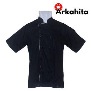 Baju Chef atau Baju Koki Lengan Pendek Hitam CS205