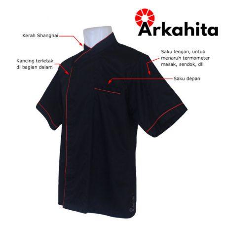 Baju Chef atau Baju Koki Lengan Pendek Hitam Kombinasi CS204-2