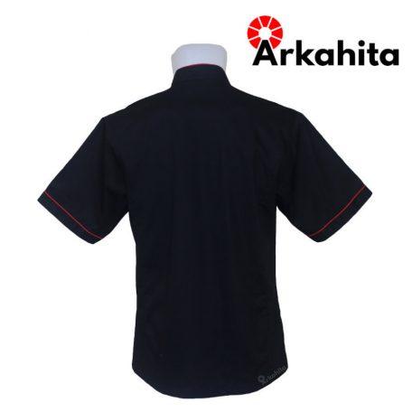Baju Chef atau Baju Koki Lengan Pendek Hitam Kombinasi CS204-3