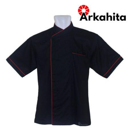 Baju Chef atau Baju Koki Lengan Pendek Hitam Kombinasi CS204