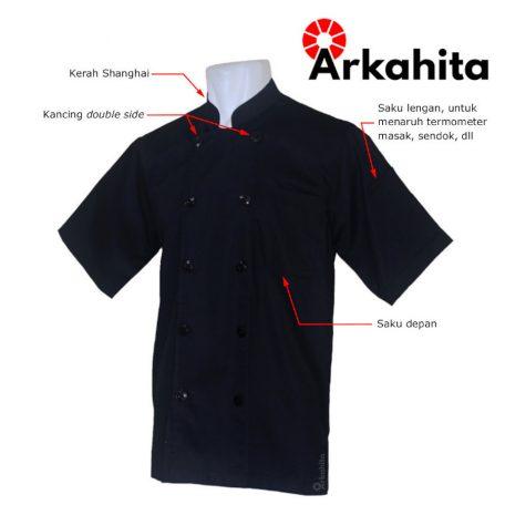 Baju Chef atau Baju Koki Lengan Pendek Hitam Polos CS203-2a