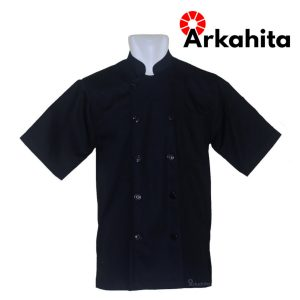 Baju Chef atau Baju Koki Lengan Pendek Hitam Polos CS203