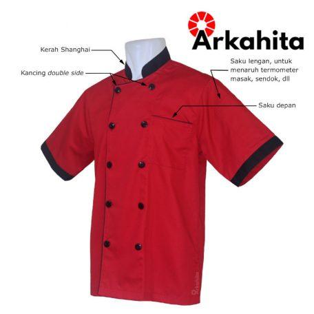 Baju Chef atau Baju Koki Lengan Pendek Merah Kombinasi CS301-2