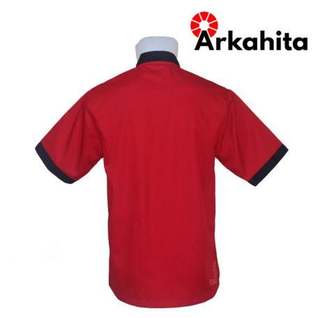 Baju Chef atau Baju Koki Lengan Pendek Merah Kombinasi CS301-3