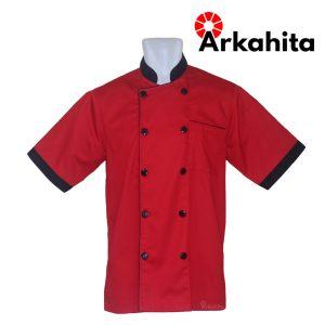 Baju Chef atau Baju Koki Lengan Pendek Merah Kombinasi CS301