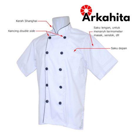 Baju Chef atau Baju Koki Lengan Pendek Putih CS102-2